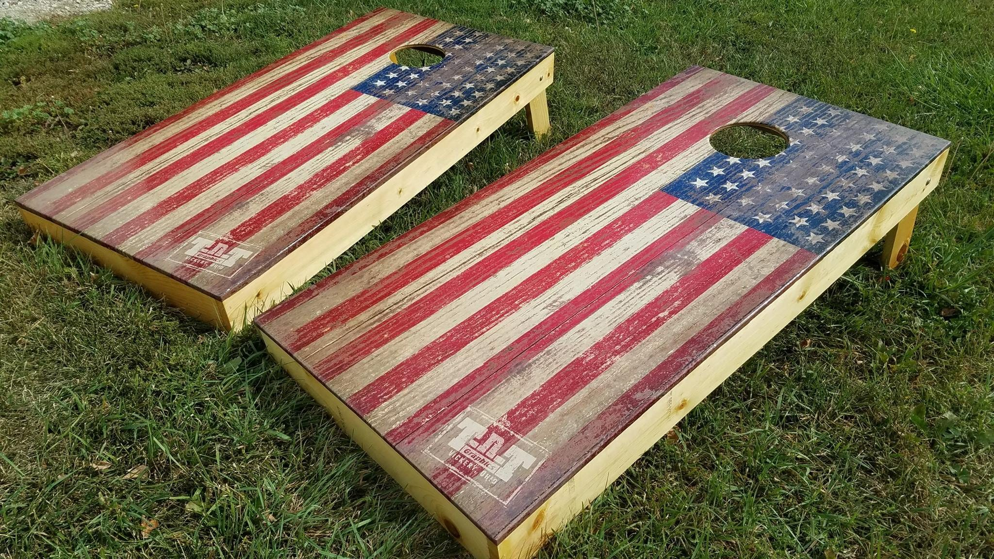 American Flag Cornhole Boards