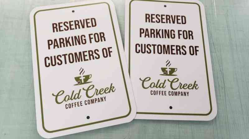 Cold Creek Coffe Parking signs